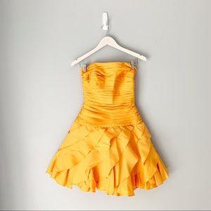 Tadashi shoji golden yellow ruffle cocktail dress